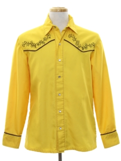 1980's Mens Rodeo Style Embroidered Western Shirt