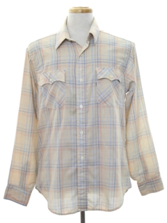 1970's Mens Plaid Western Style Shirt