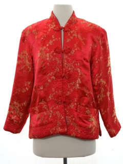 1980's Womens Reversible Cheongsam Asian Style Satin Jacket