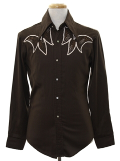 1970's Mens Rodeo Style Embroidered Western Shirt