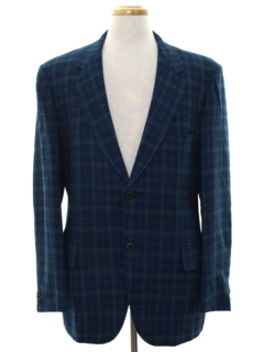1960's Mens Mod Plaid Wool Blazer Sport Coat Jacket