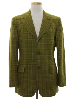 1960's Mens Mod Plaid Blazer Sport Coat Jacket