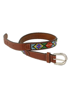 1980's Womens Accessories - Beaded Leather Belt