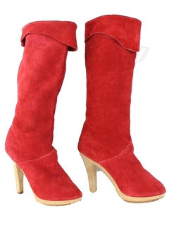 1980's Womens Accessories - Totally 80s Suede Leather Boots