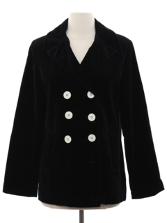 1990's Womens Velvet Pea Coat Jacket