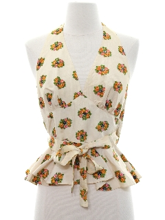 1960's Womens Hippie Halter Shirt