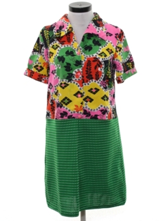 1970's Womens Mod Knit Shift Dress