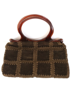 1970's Womens Accessories - Suede Leather Hippie Purse