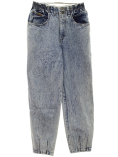 1980's Womens Acid Washed Tapered Leg Denim Jeans Pants