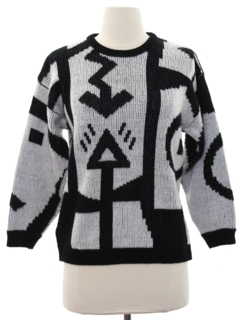 1980's Womens Totally 80s Op-Art Sweater