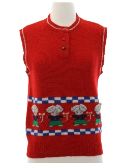 1980's Womens Kitschy Cheesy Sweater Vest