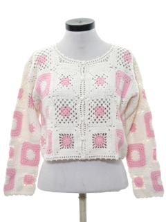 1980's Womens Totally 80s Crocheted Sweater