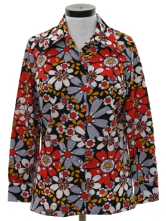 1970's Womens Pow-Flower Print Disco Hippie Shirt