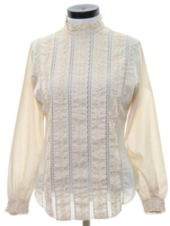 1970's Womens Ruffled Front Lacey Secretary Shirt