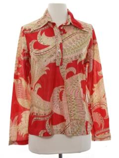 1970's Womens Print Disco Style Hippie Shirt