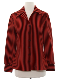 1970's Womens Striped Print Disco Shirt