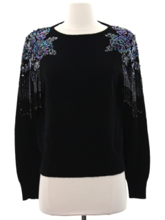1980's Womens Beaded And Sequined Cocktail Sweater