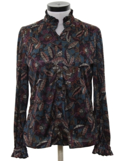 1970's Womens Ruffled Print Secretary Shirt