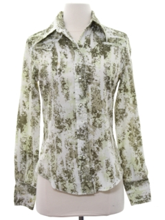 1970's Womens Print Disco Style Western Shirt