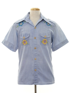 1970's Mens Embroidered Chambray Hippie Style Sport Shirt