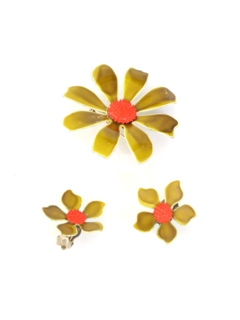1960's Womens Accessories - Mod Brooch And Earring Set