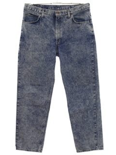 1980's Mens Tapered Leg Acid Wash Denim Jeans Pants