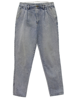 1980's Mens Totally 80s Acid Washed Pleated Denim Jeans Pants