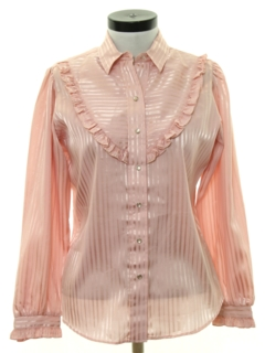 1980's Womens Ruffled Western Shirt
