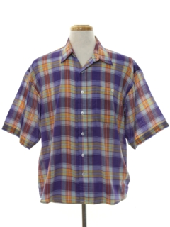 1980's Mens Plaid Sport Shirt