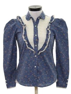1970's Womens Western Prairie Style Hippie Shirt