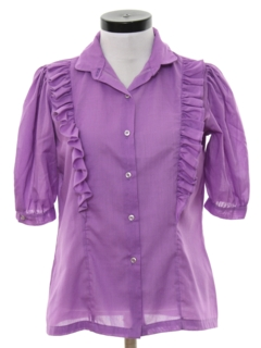 1980's Womens Totally 80s Ruffled Shirt