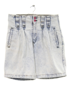 1980's Womens Totally 80s Acid Wash Denim Shorts