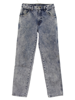 1980's Mens/Boys Totally 80s Acid Washed Tapered Leg Denim Jeans Pants