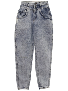 1980's Womens Totally 80s Wide Tapered Leg Acid Washed Denim Jeans Pants