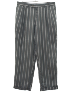1980's Mens Totally 80s Pinstriped Pleated Slacks Pants