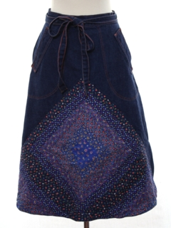 1970's Womens Denim Wrap Skirt