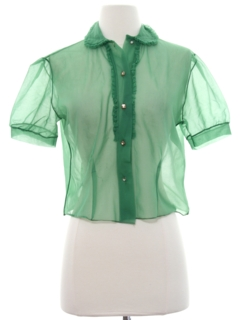 1950's Womens Ruffled Front Secretary Shirt