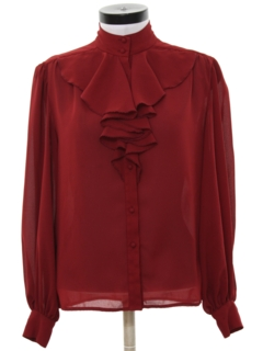1980's Womens Ruffled Front Secretary Shirt