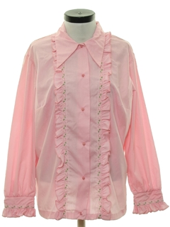 1970's Womens Ruffled Front Shirt
