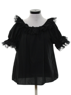1980's Womens Ruffled Square Dance Shirt