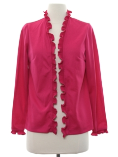 1980's Womens Ruffled Cocktail Shirt
