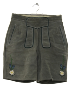1980's Mens/Boys Suede Leather Lederhosen Shorts