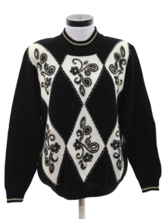 1980's Womens Totally 80s Beaded Cocktail Sweater
