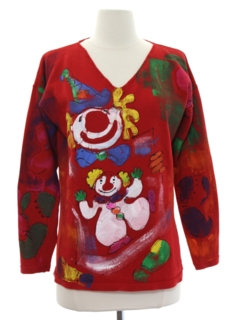 1990's Womens Creepy Clown Sweater