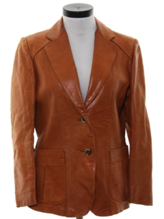 1970's Womens Mod Leather Car Coat Jacket