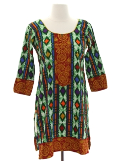 1980's Womens Mini Hippie Dress