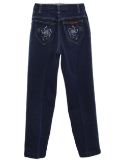 1980's Womens Embroidered Denim Jeans Pants