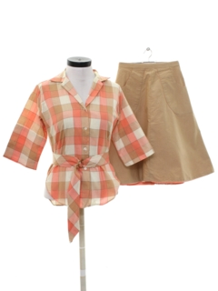 1960's Womens Matching Shirt And Skirt Set