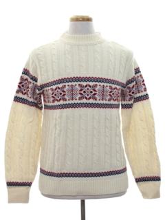 1960's Mens Vintage Snowflake Ski Sweater