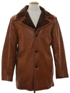 1970's Mens Faux Leather Car Coat Jacket